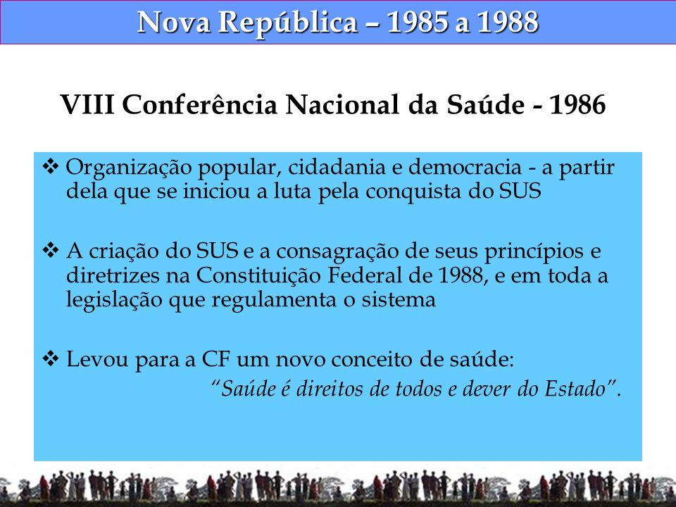 Nova República – 1985 a 1988 Constituição Federal de 1988 Redefine o conceito de saúde, incorporando novas dimensões Para se ter saúde é preciso ter acesso a um conjunto de fatores, entre eles alimentação, moradia, emprego, lazer, educação entre outros - CONSTITUIÇÃO CIDADÃ -