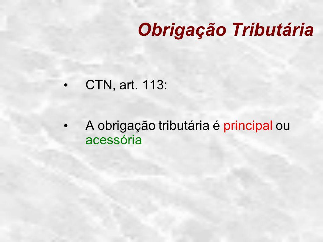 Obrigação Tributária CTN, art. 113: A obrigação tributária é principal ou acessória