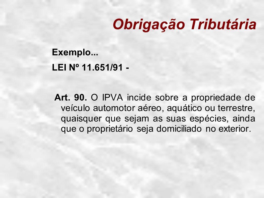 Obrigação Tributária Exemplo... LEI Nº 11.651/91 - Art. 90. O IPVA incide sobre a propriedade de veículo automotor aéreo, aquático ou terrestre, quais
