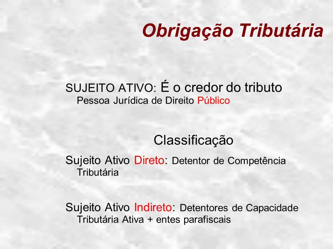 Obrigação Tributária SUJEITO ATIVO: É o credor do tributo Pessoa Jurídica de Direito Público Classificação Sujeito Ativo Direto: Detentor de Competênc