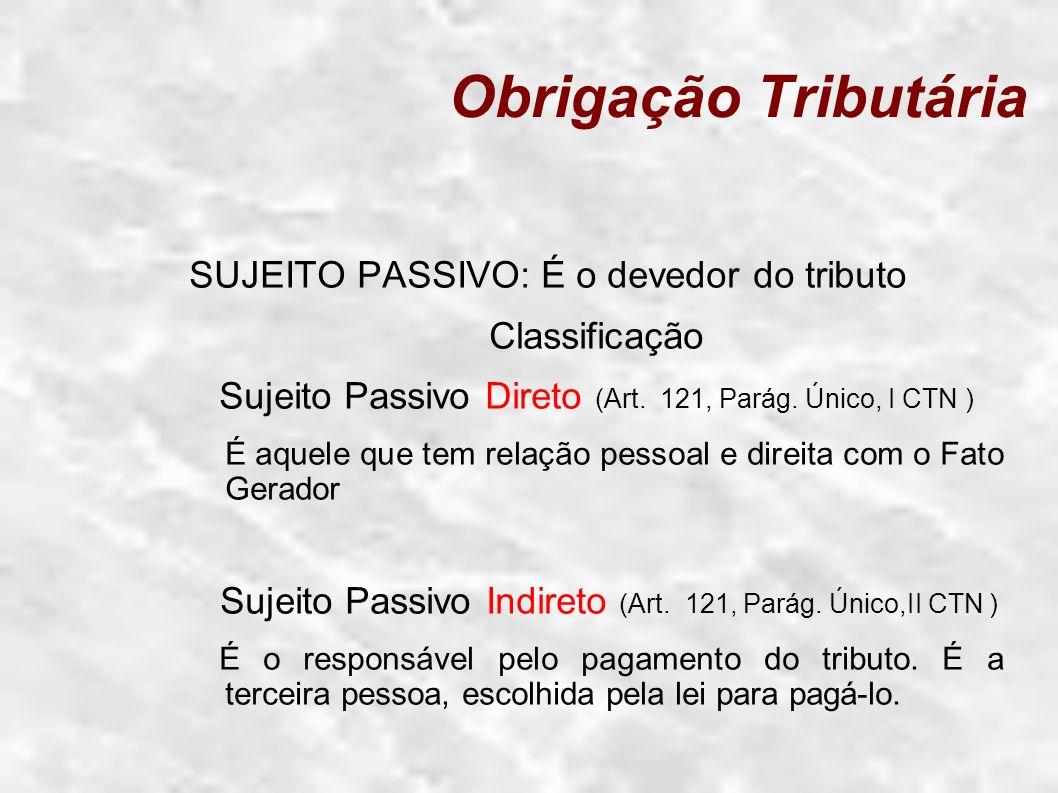 Obrigação Tributária SUJEITO PASSIVO: É o devedor do tributo Classificação Sujeito Passivo Direto (Art. 121, Parág. Único, I CTN ) É aquele que tem re
