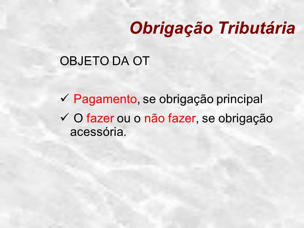 Obrigação Tributária OBJETO DA OT Pagamento, se obrigação principal O fazer ou o não fazer, se obrigação acessória.