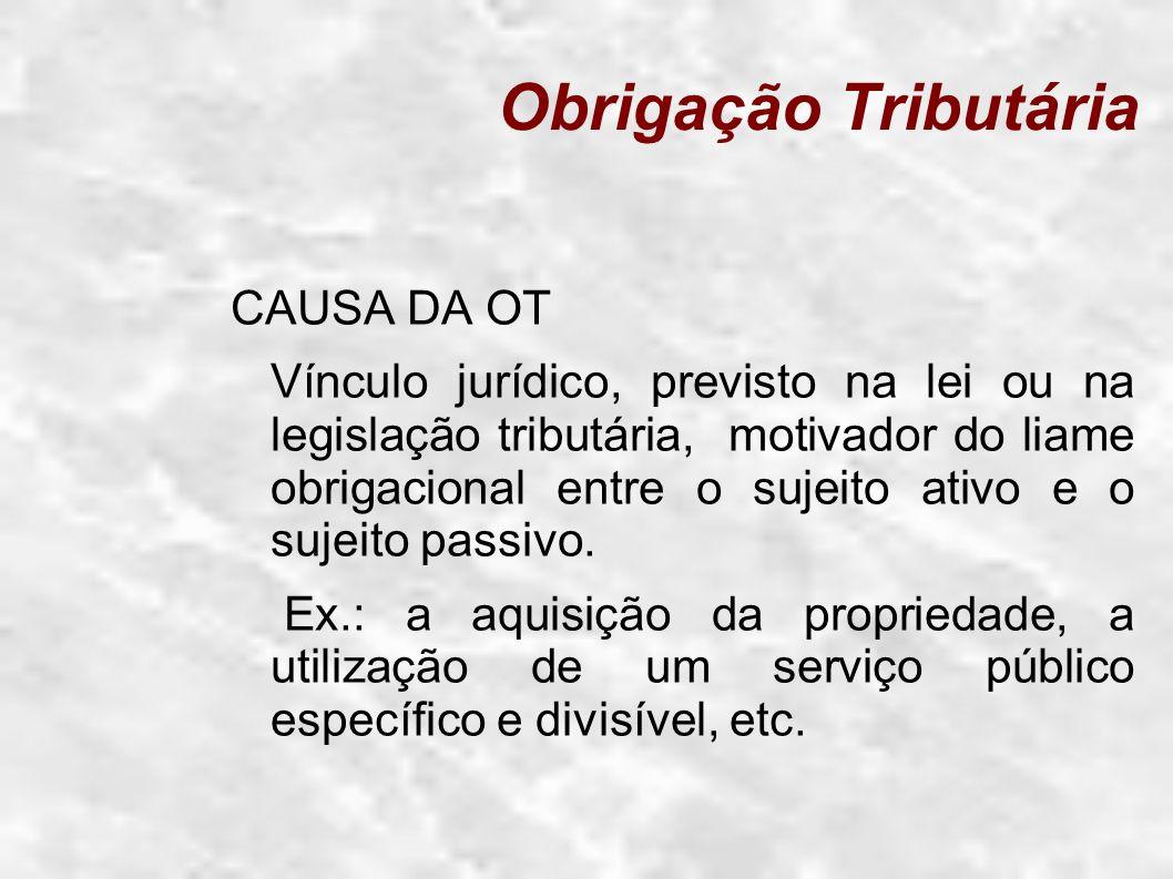 Obrigação Tributária CAUSA DA OT Vínculo jurídico, previsto na lei ou na legislação tributária, motivador do liame obrigacional entre o sujeito ativo