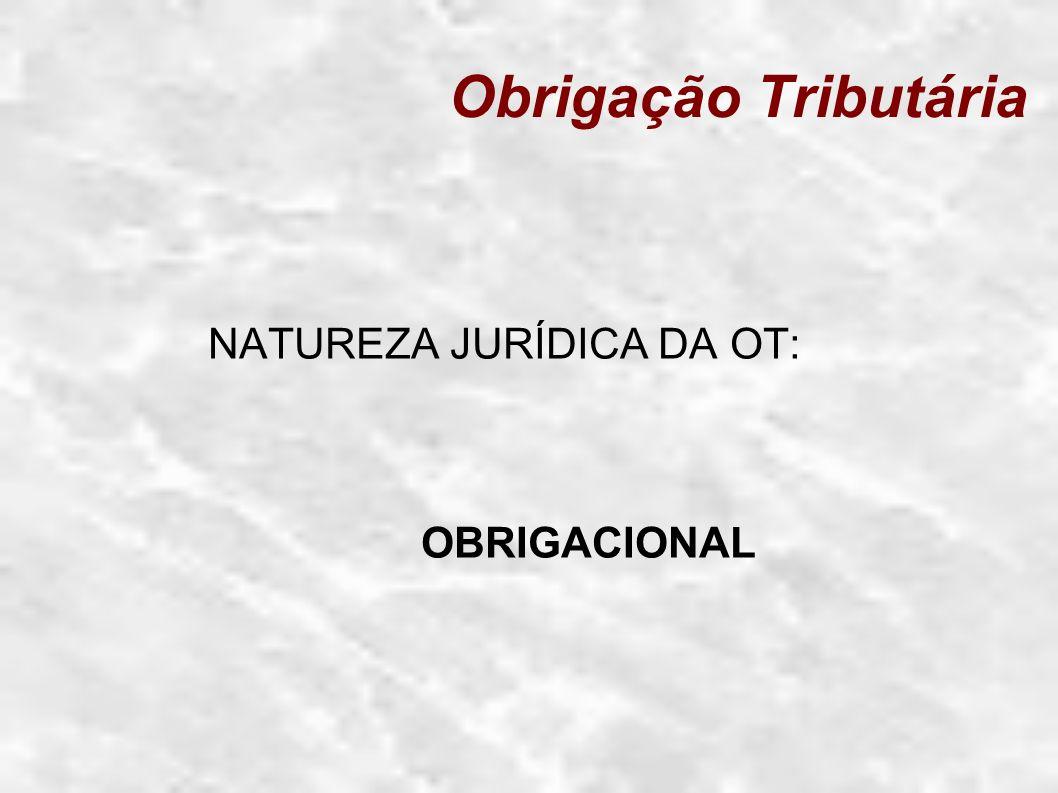 Obrigação Tributária NATUREZA JURÍDICA DA OT: OBRIGACIONAL