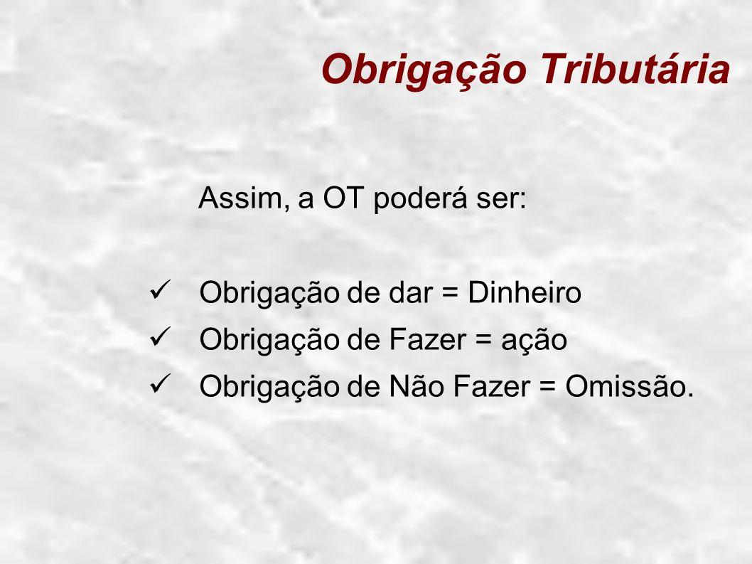 Obrigação Tributária Assim, a OT poderá ser: Obrigação de dar = Dinheiro Obrigação de Fazer = ação Obrigação de Não Fazer = Omissão.