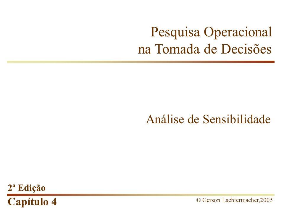 Capítulo 4 Análise de Sensibilidade Interpretação no Excel Para o Excel, os conceitos de Preço-Sombra estão relacionados ao valor nominal do efeito na função- objetivo, isto é, quanto a função-objetivo aumenta ou diminui.