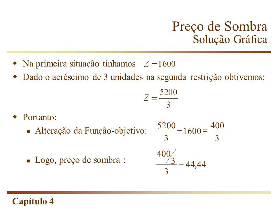 Capítulo 4 Na primeira situação tínhamos Dado o acréscimo de 3 unidades na segunda restrição obtivemos: Portanto: Alteração da Função-objetivo: Logo,