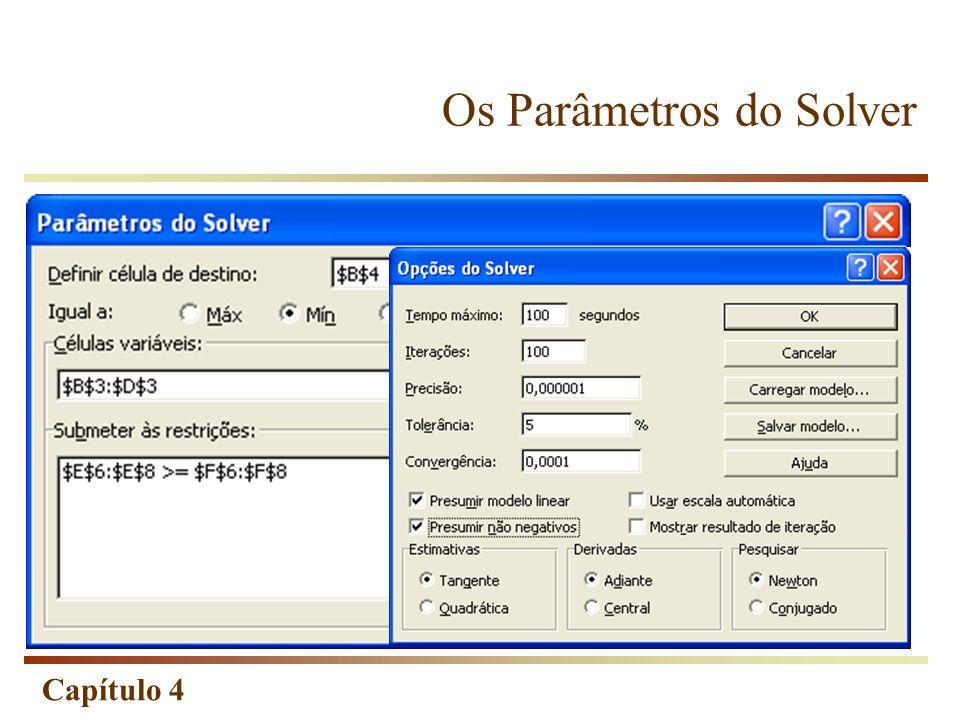 Capítulo 4 Os Parâmetros do Solver