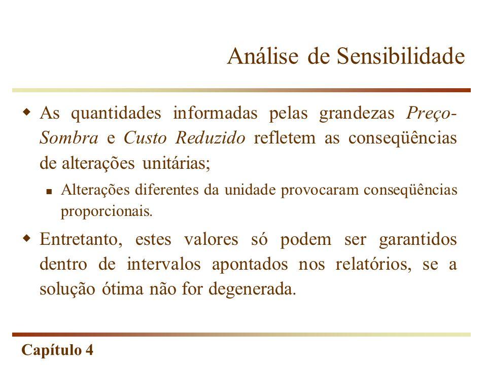 Capítulo 4 Análise de Sensibilidade As quantidades informadas pelas grandezas Preço- Sombra e Custo Reduzido refletem as conseqüências de alterações u