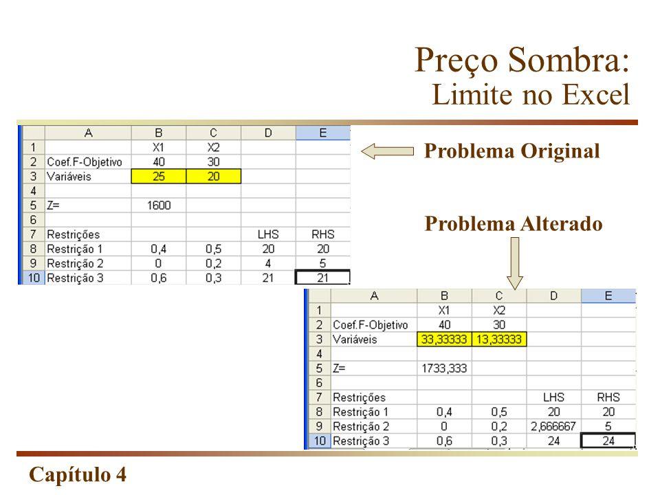 Capítulo 4 Preço Sombra: Limite no Excel Problema Original Problema Alterado