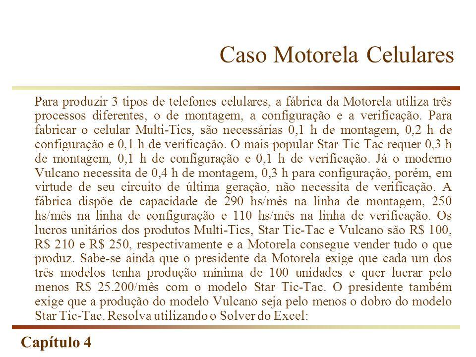 Capítulo 4 Caso Motorela Celulares Para produzir 3 tipos de telefones celulares, a fábrica da Motorela utiliza três processos diferentes, o de montage