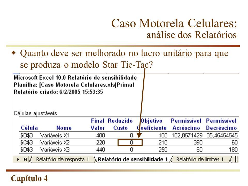 Capítulo 4 Quanto deve ser melhorado no lucro unitário para que se produza o modelo Star Tic-Tac? Caso Motorela Celulares: análise dos Relatórios