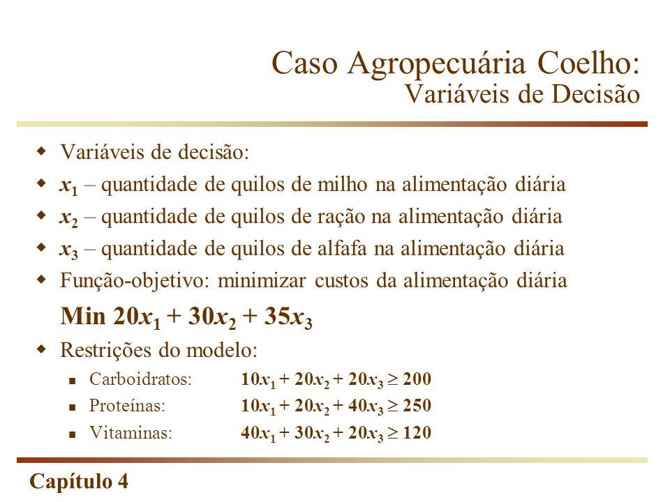 Capítulo 4 Caso Agropecuária Coelho: Variáveis de Decisão Variáveis de decisão: x 1 – quantidade de quilos de milho na alimentação diária x 2 – quanti