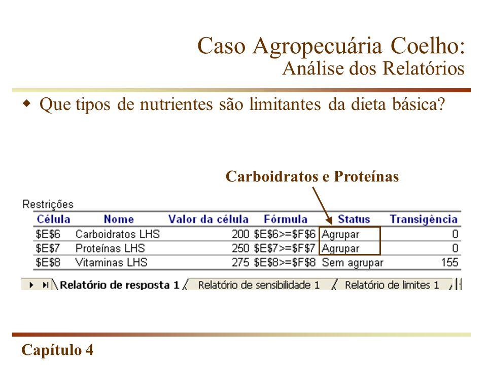 Capítulo 4 Que tipos de nutrientes são limitantes da dieta básica? Carboidratos e Proteínas Caso Agropecuária Coelho: Análise dos Relatórios