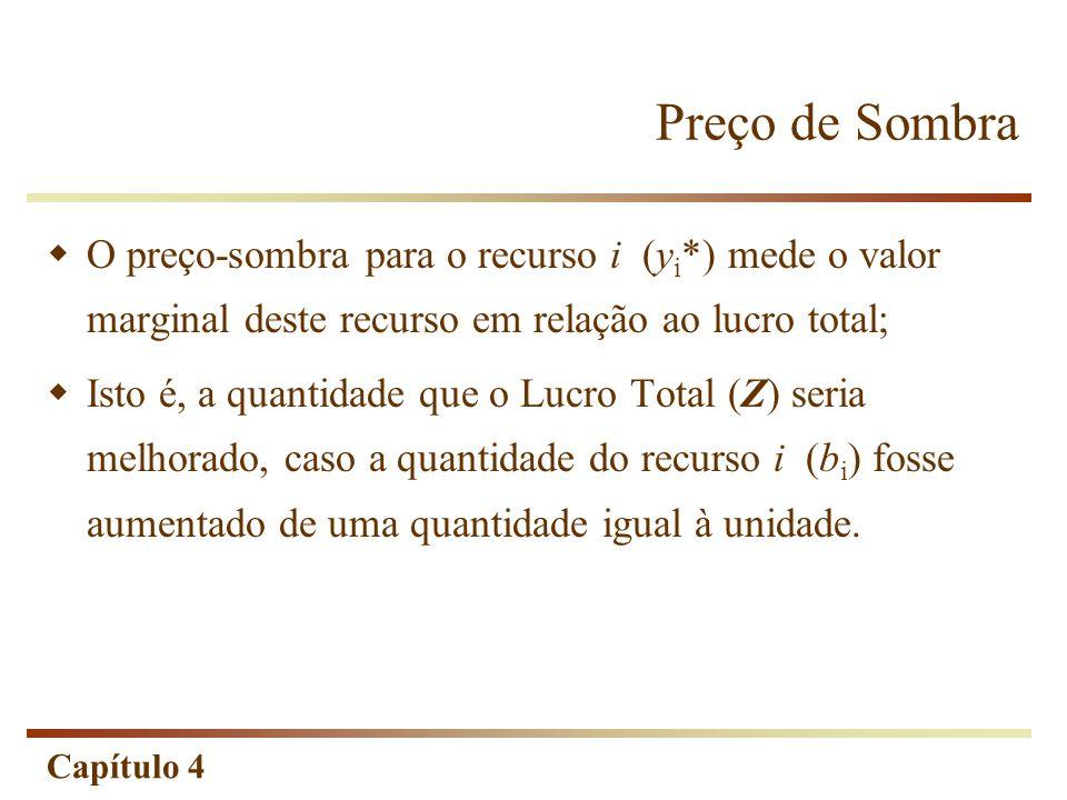 Capítulo 4 (0;25) (0;0) (35;0) Solução Ótima (25;20) (18,75;25) Alteração da Função= Objetivo: (0;25) (0;0) (18,75;25) (35;0) (25;20) (40;0) Solução Ótima Logo, preço de sombra : Preço de Sombra Limite