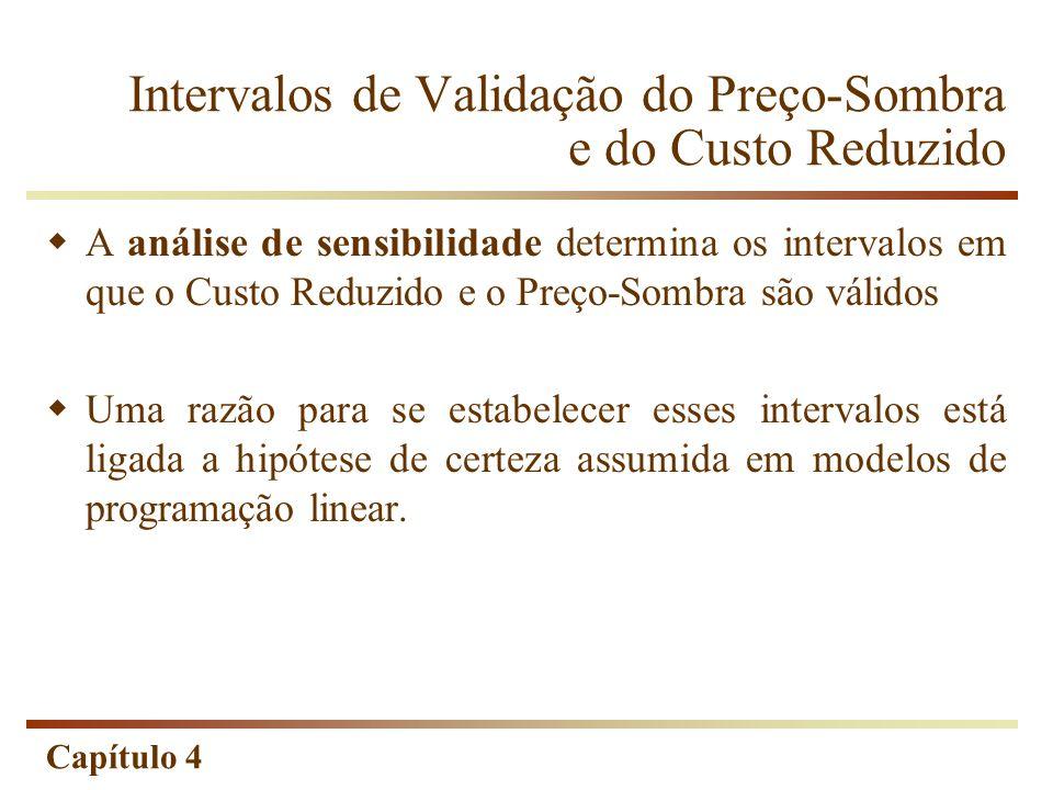 Capítulo 4 Intervalos de Validação do Preço-Sombra e do Custo Reduzido A análise de sensibilidade determina os intervalos em que o Custo Reduzido e o