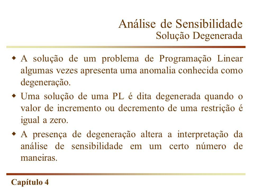 Capítulo 4 Análise de Sensibilidade Solução Degenerada A solução de um problema de Programação Linear algumas vezes apresenta uma anomalia conhecida c