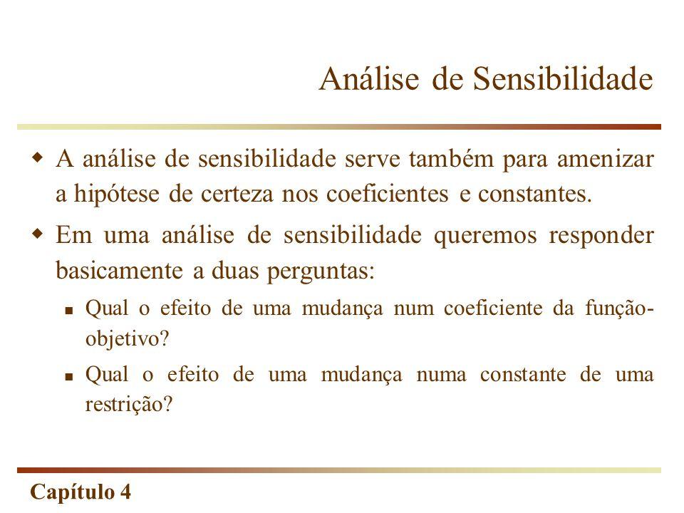 Capítulo 4 Análise de Sensibilidade A análise de sensibilidade serve também para amenizar a hipótese de certeza nos coeficientes e constantes. Em uma
