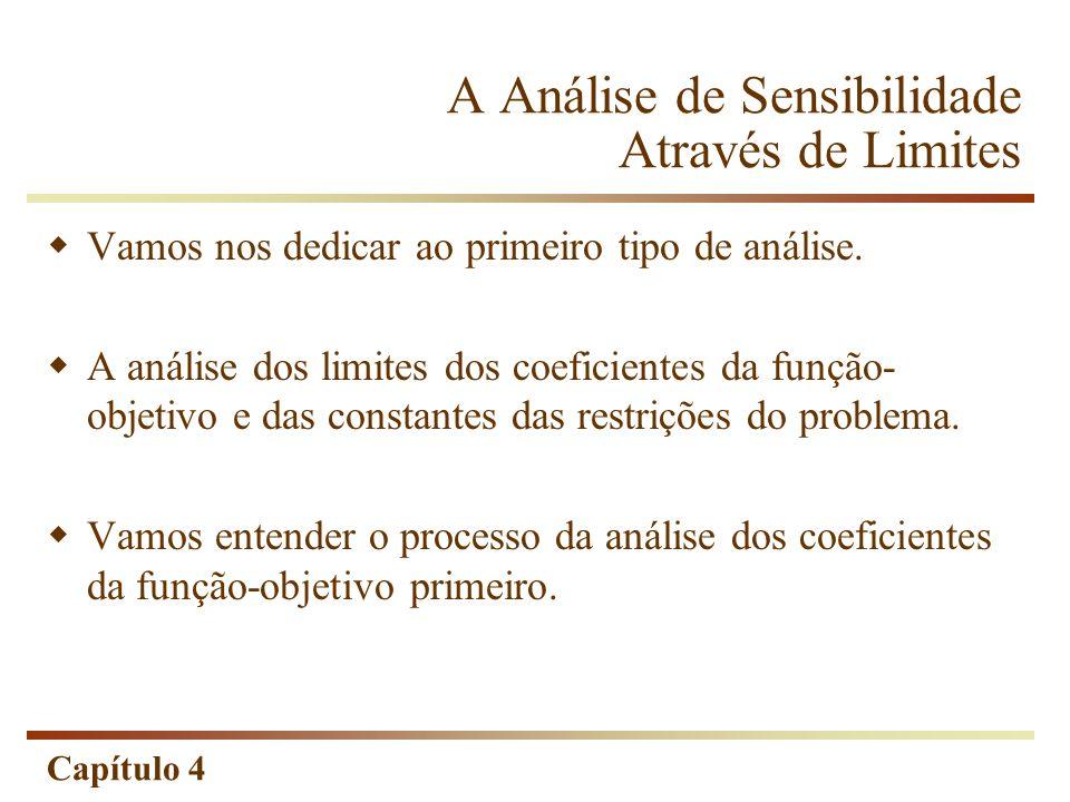 Capítulo 4 A Análise de Sensibilidade Através de Limites Vamos nos dedicar ao primeiro tipo de análise. A análise dos limites dos coeficientes da funç