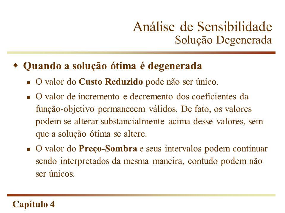 Capítulo 4 Análise de Sensibilidade Solução Degenerada Quando a solução ótima é degenerada O valor do Custo Reduzido pode não ser único. O valor de in