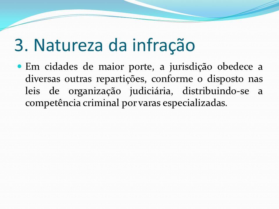 3. Natureza da infração Em cidades de maior porte, a jurisdição obedece a diversas outras repartições, conforme o disposto nas leis de organização jud