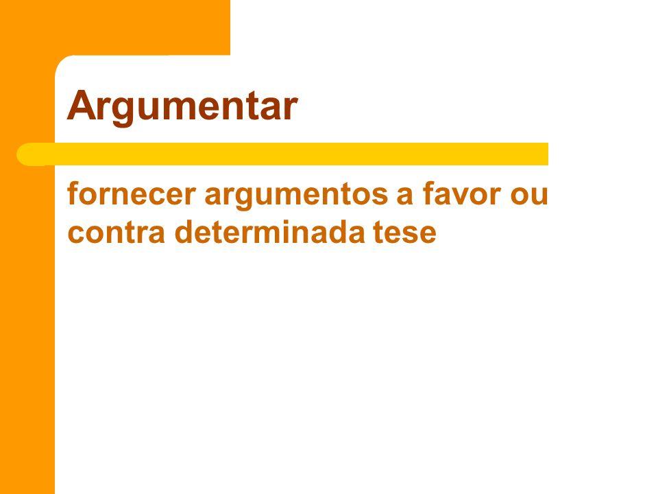 fornecer argumentos a favor ou contra determinada tese Argumentar