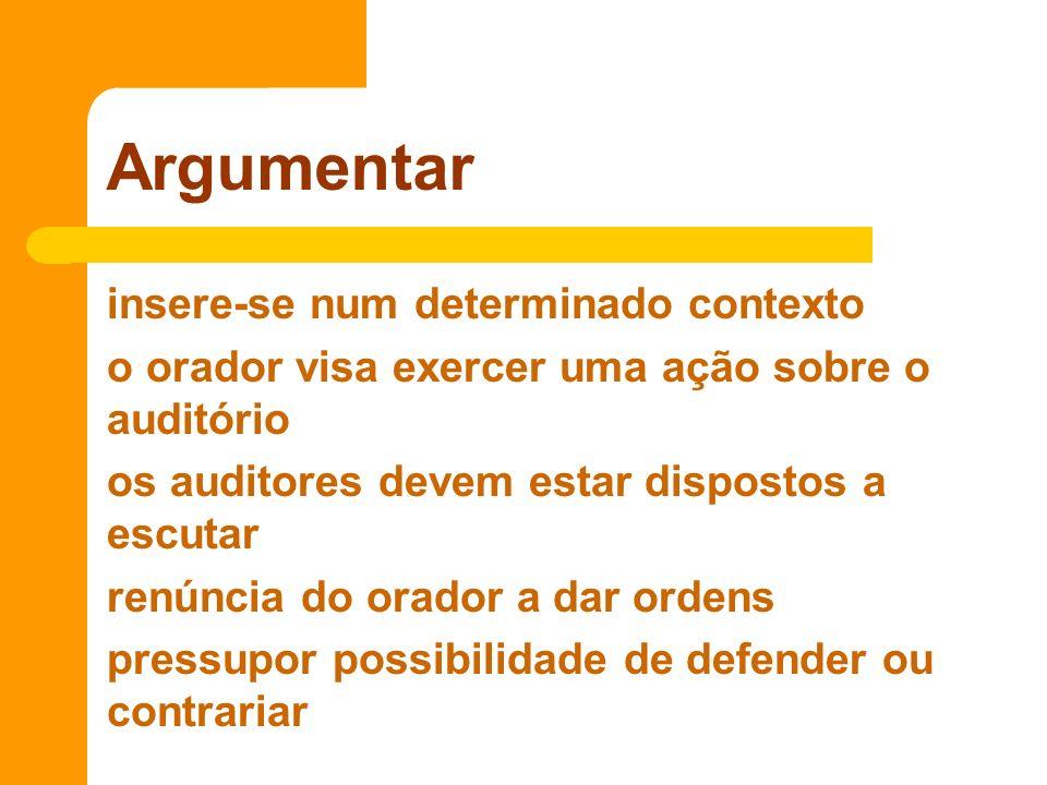 insere-se num determinado contexto o orador visa exercer uma ação sobre o auditório os auditores devem estar dispostos a escutar renúncia do orador a