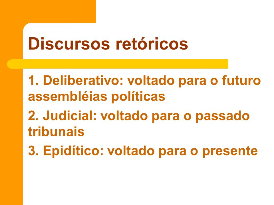 1. Deliberativo: voltado para o futuro assembléias políticas 2. Judicial: voltado para o passado tribunais 3. Epidítico: voltado para o presente Discu