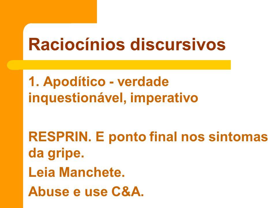 1. Apodítico - verdade inquestionável, imperativo RESPRIN. E ponto final nos sintomas da gripe. Leia Manchete. Abuse e use C&A. Raciocínios discursivo