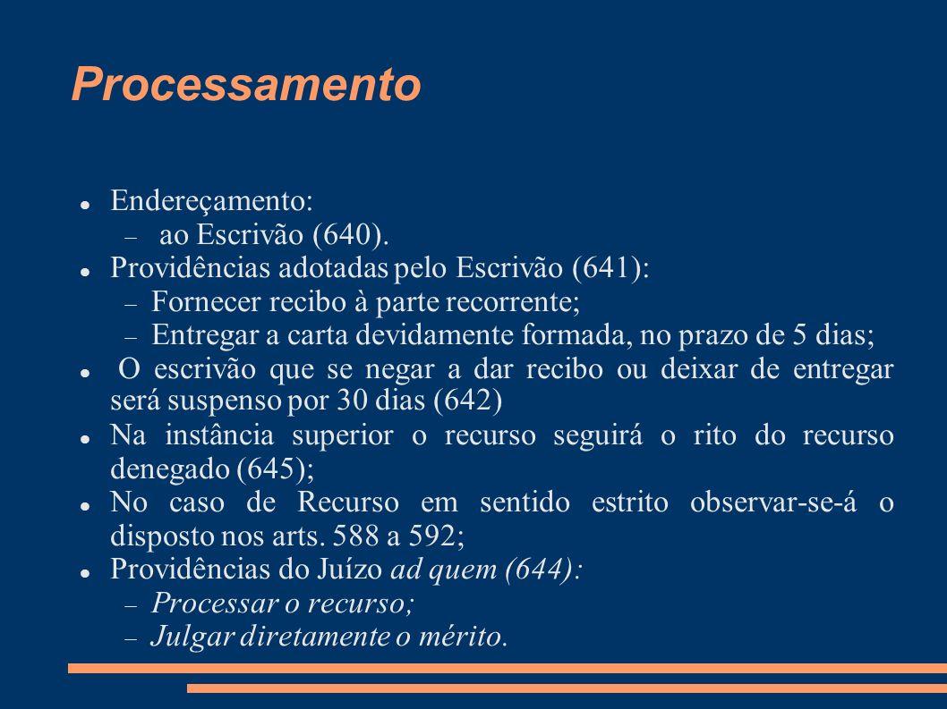 Processamento Endereçamento: ao Escrivão (640). Providências adotadas pelo Escrivão (641): Fornecer recibo à parte recorrente; Entregar a carta devida