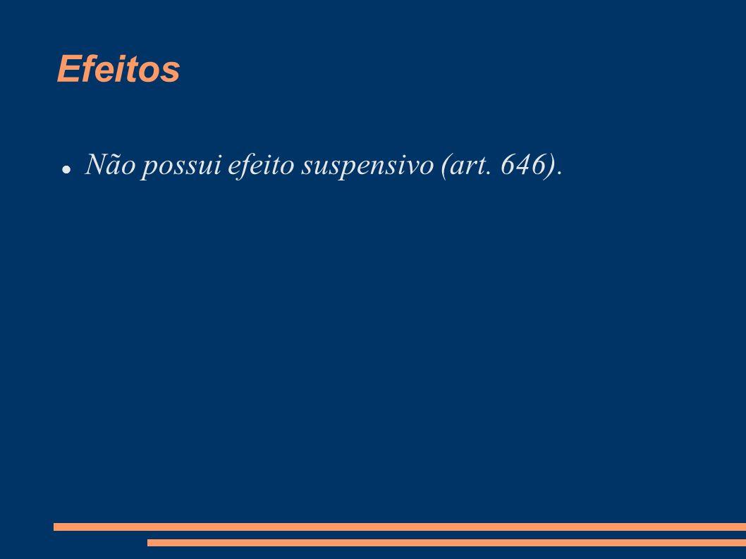 Efeitos Não possui efeito suspensivo (art. 646).