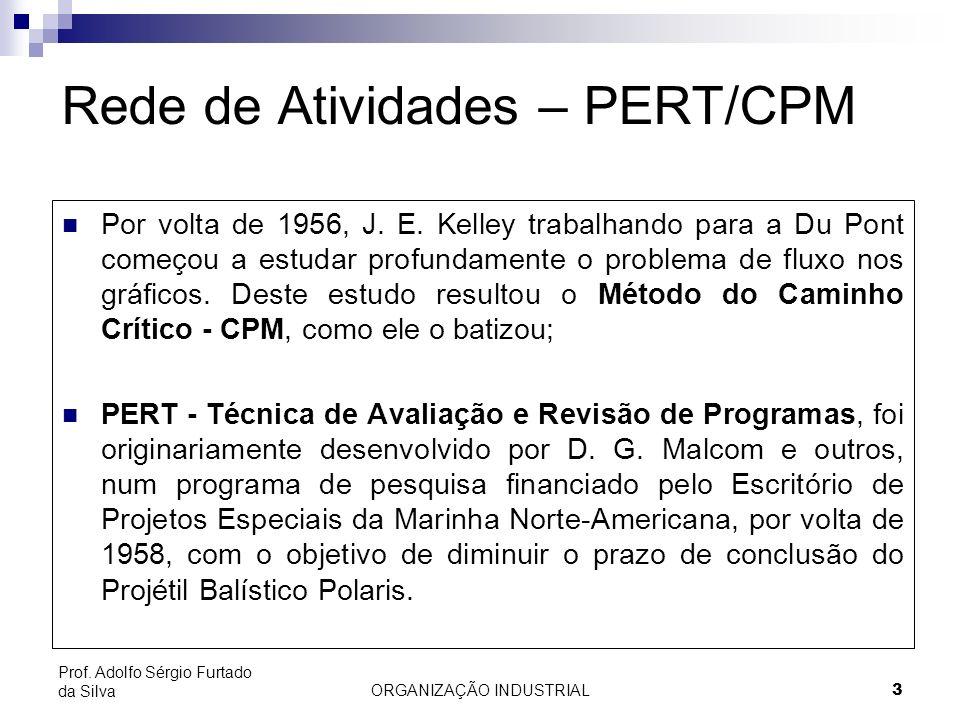 ORGANIZAÇÃO INDUSTRIAL3 Prof. Adolfo Sérgio Furtado da Silva Rede de Atividades – PERT/CPM Por volta de 1956, J. E. Kelley trabalhando para a Du Pont