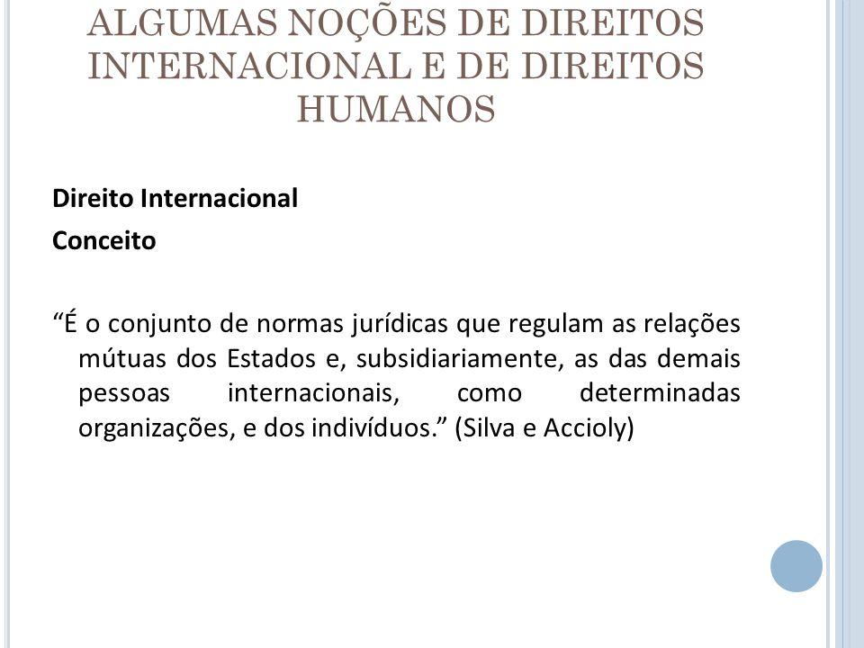 ALGUMAS NOÇÕES DE DIREITOS INTERNACIONAL E DE DIREITOS HUMANOS Principais Fontes: - convenções internacionais (Tratados, Convenções etc.) - costume internacional - princípios gerais de direito Fontes Auxiliares: - decisões judiciárias e doutrina - eqüidade - atos unilaterais