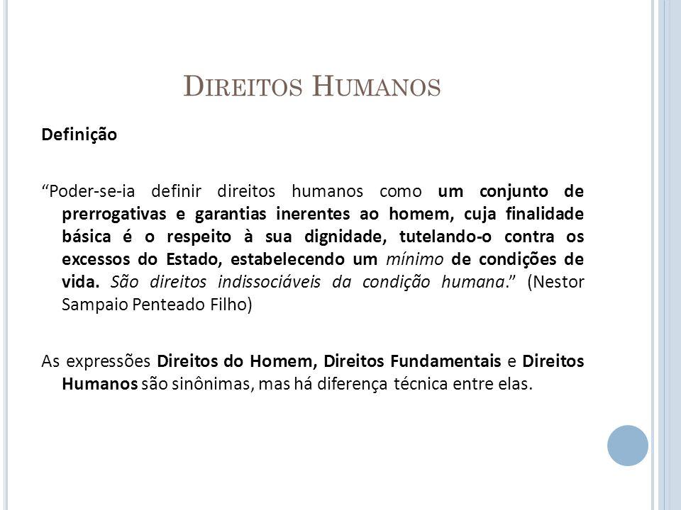 D IREITOS H UMANOS Definição Poder-se-ia definir direitos humanos como um conjunto de prerrogativas e garantias inerentes ao homem, cuja finalidade bá