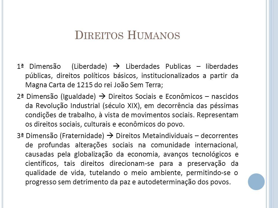 D IREITOS H UMANOS 1ª Dimensão (Liberdade) Liberdades Publicas – liberdades públicas, direitos políticos básicos, institucionalizados a partir da Magn