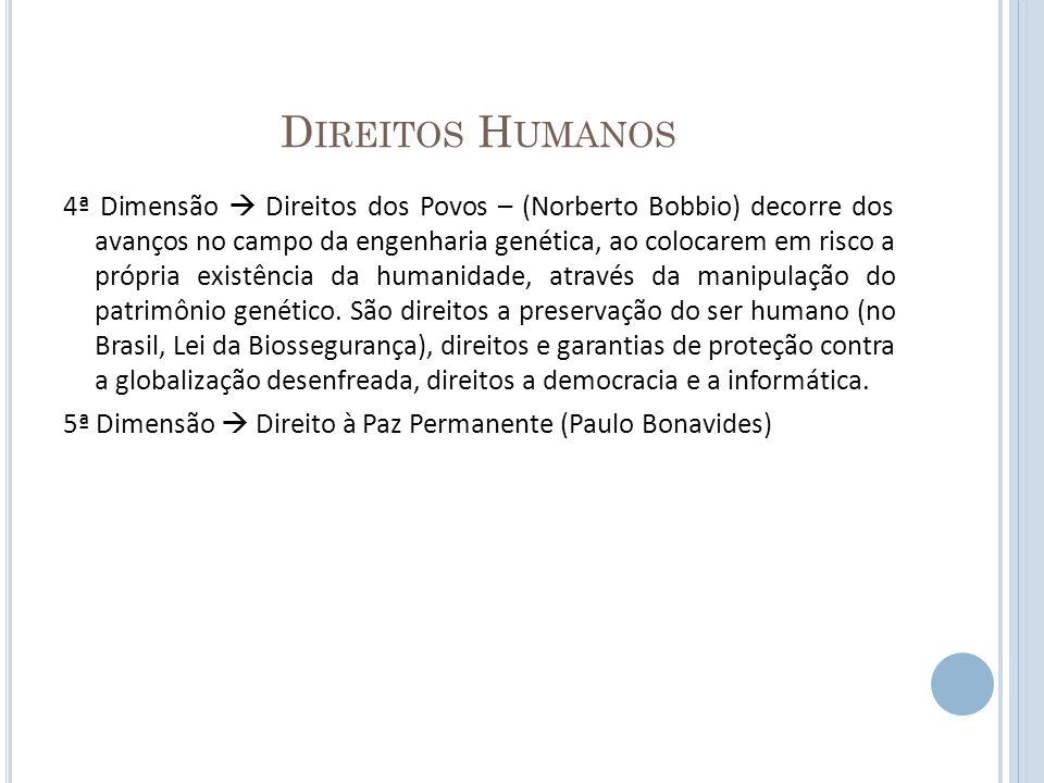 D IREITOS H UMANOS 4ª Dimensão Direitos dos Povos – (Norberto Bobbio) decorre dos avanços no campo da engenharia genética, ao colocarem em risco a pró