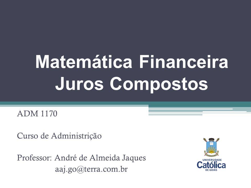 Matemática Financeira Juros Compostos ADM 1170 Curso de Administrição Professor: André de Almeida Jaques aaj.go@terra.com.br