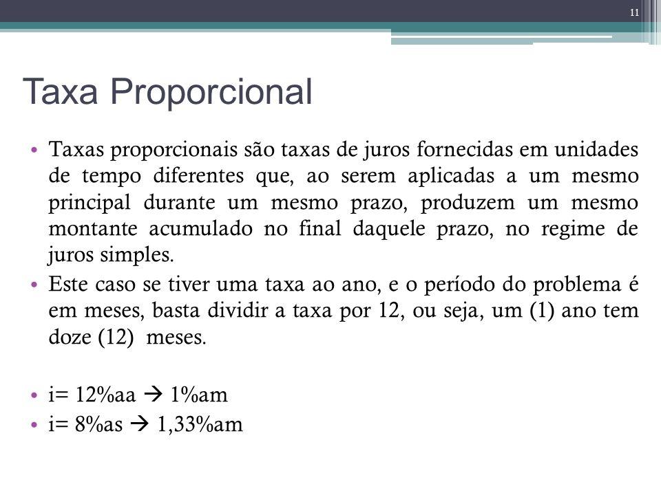 Taxa Proporcional Taxas proporcionais são taxas de juros fornecidas em unidades de tempo diferentes que, ao serem aplicadas a um mesmo principal duran