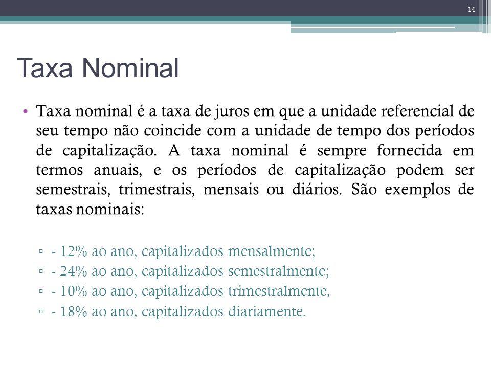 Taxa Nominal Taxa nominal é a taxa de juros em que a unidade referencial de seu tempo não coincide com a unidade de tempo dos períodos de capitalizaçã