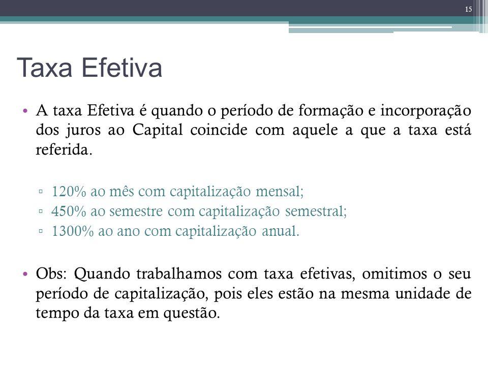 Taxa Efetiva A taxa Efetiva é quando o período de formação e incorporação dos juros ao Capital coincide com aquele a que a taxa está referida. 120% ao