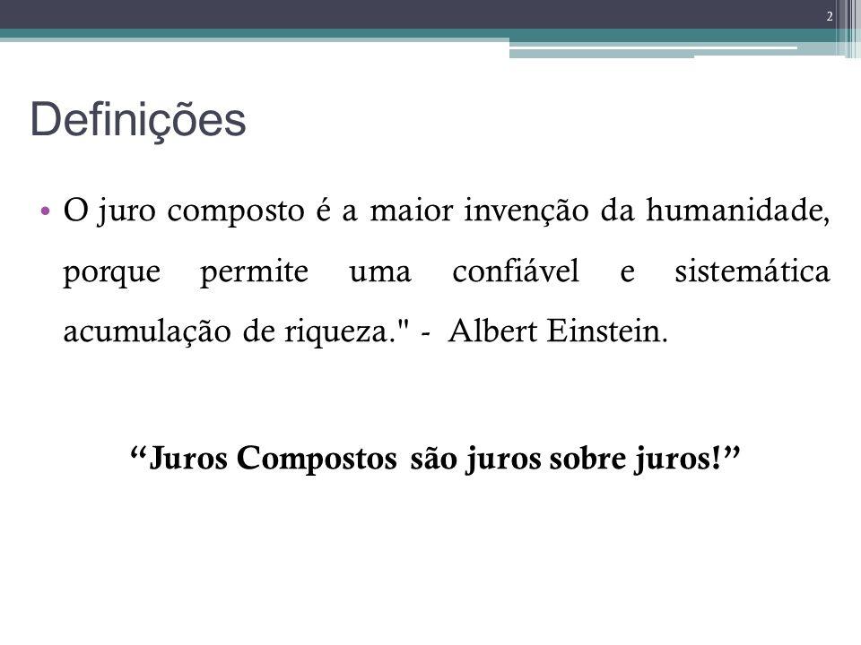 Definições O juro composto é a maior invenção da humanidade, porque permite uma confiável e sistemática acumulação de riqueza.