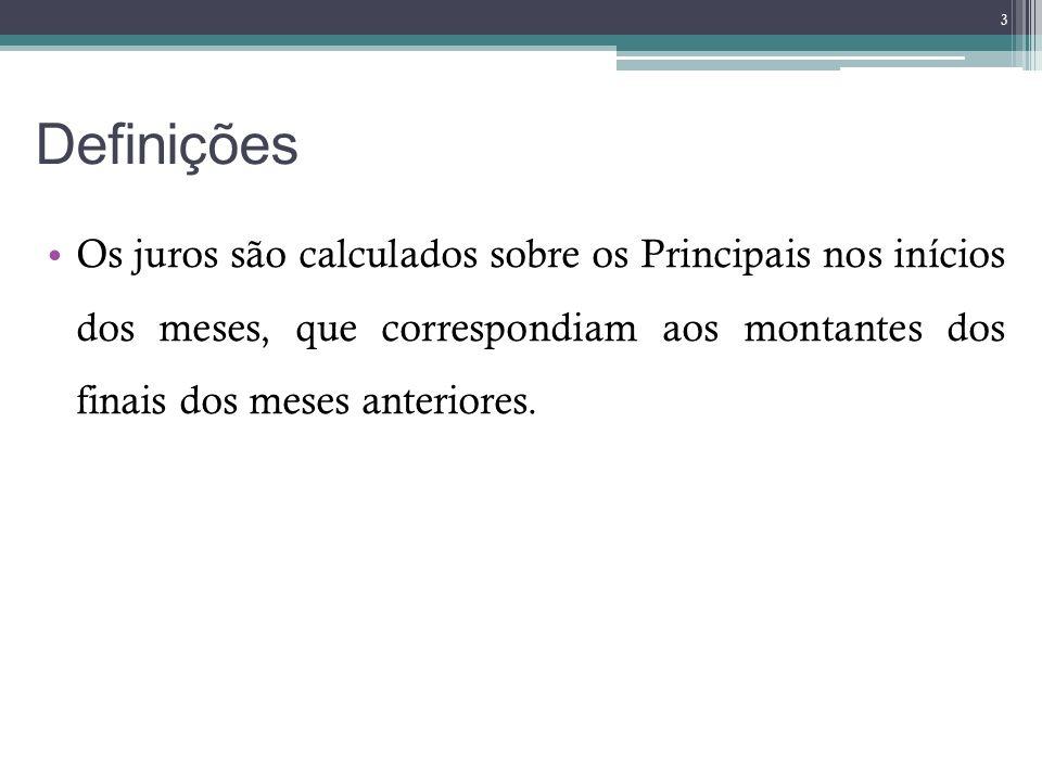 Definições Os juros são calculados sobre os Principais nos inícios dos meses, que correspondiam aos montantes dos finais dos meses anteriores. 3