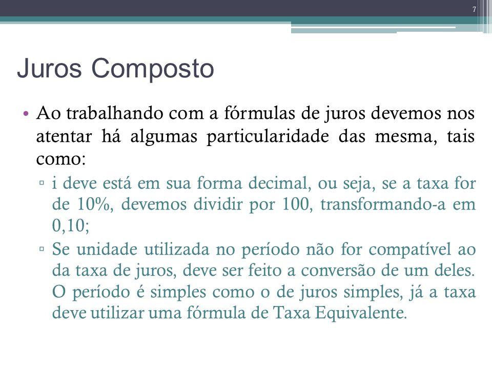 Juros Composto Ao trabalhando com a fórmulas de juros devemos nos atentar há algumas particularidade das mesma, tais como: i deve está em sua forma de