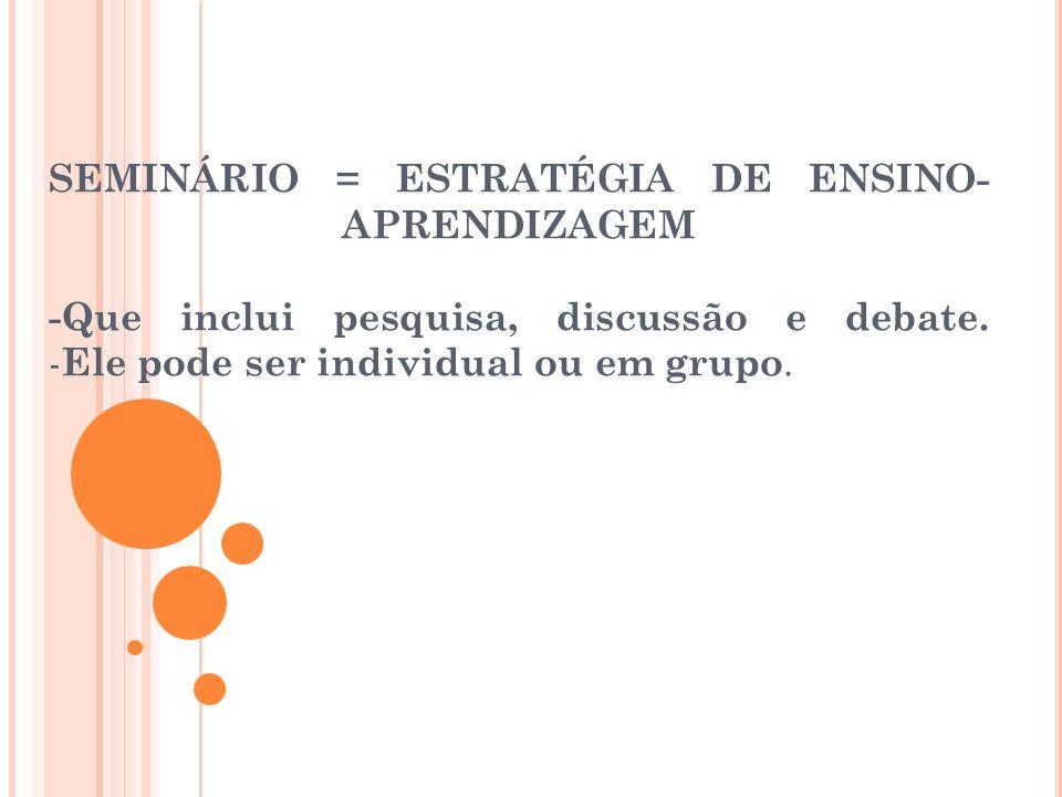 SEMINÁRIO = ESTRATÉGIA DE ENSINO- APRENDIZAGEM -Que inclui pesquisa, discussão e debate. - Ele pode ser individual ou em grupo.