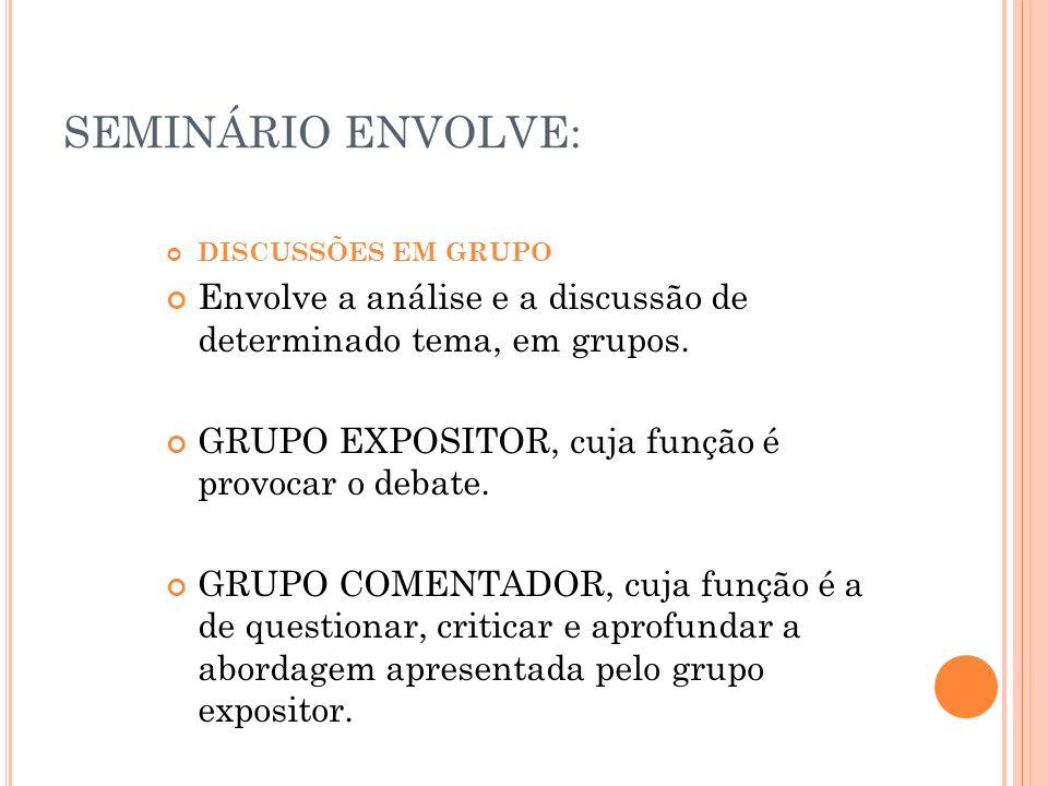 SEMINÁRIO ENVOLVE: DISCUSSÕES EM GRUPO Envolve a análise e a discussão de determinado tema, em grupos. GRUPO EXPOSITOR, cuja função é provocar o debat