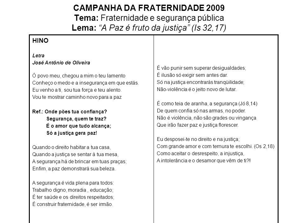 CAMPANHA DA FRATERNIDADE 2009 Tema: Fraternidade e segurança pública Lema: A Paz é fruto da justiça (Is 32,17) HINO Letra José Antônio de Oliveira Ó p