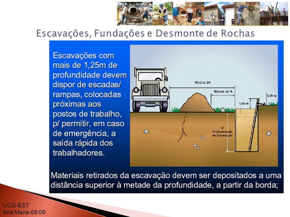 Os materiais retirados da escavação devem ser depositados a uma distância superior à metade da profundidade, medida a partir da borda do talude.