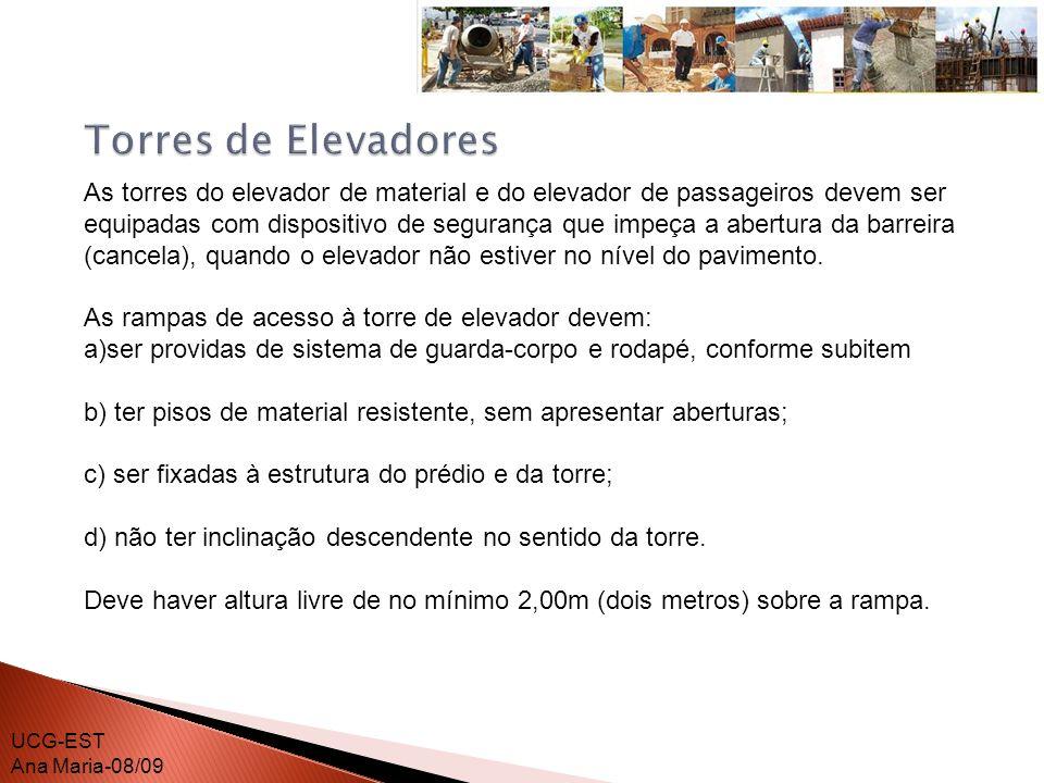 É proibido o transporte de pessoas nos elevadores de materiais.
