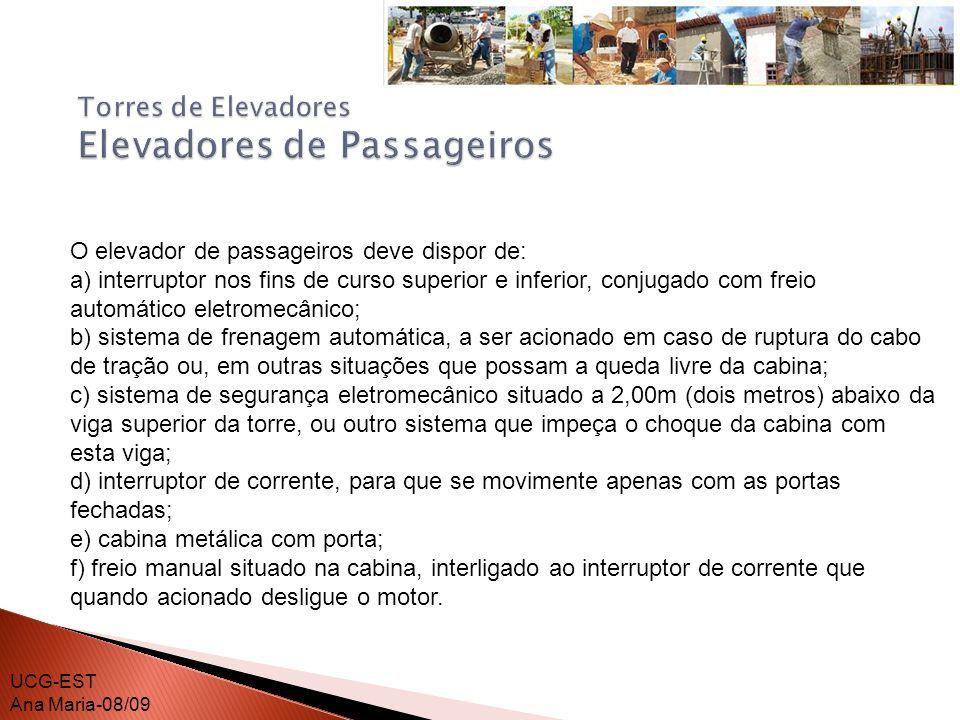 O elevador de passageiros deve dispor de: O elevador de passageiros deve ter um livro de inspeção, no qual o operador anotará, diariamente, as condições de funcionamento e de manutenção do mesmo.