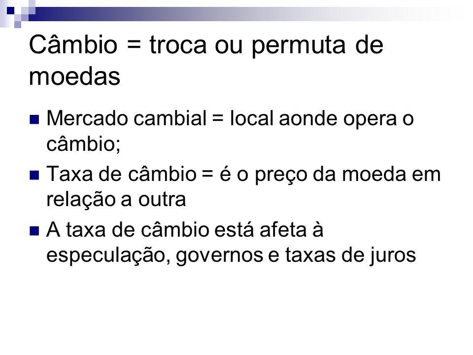 Câmbio = troca ou permuta de moedas Mercado cambial = local aonde opera o câmbio; Taxa de câmbio = é o preço da moeda em relação a outra A taxa de câmbio está afeta à especulação, governos e taxas de juros